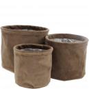 grossiste Plantes et pots: Seau en tissu Selena, lot de 3, D16 / 14 / 12cm, c